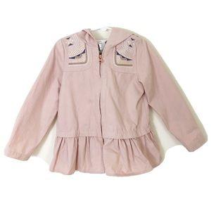 🎉 Aspen Pink Emboridered Boho Hooded Jacket Sz 5T